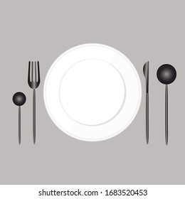 White plate with a black knife, fork, tablespoon, teaspoon, on a gray background. Vectra illustration. Stock Photo.