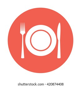 White plate / fork / knife / cutlery / meal icon vector illustration red circle / button