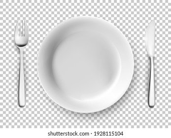 White plate, fork, knife table cutlery set. Empty dishes for dinner, breakfast or lunch vector illustration. Clean dining utensils isolated on transparent background, above view.
