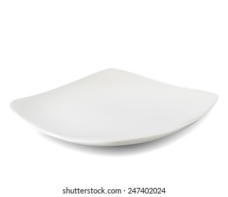 white plate isolated on white background.Vectors