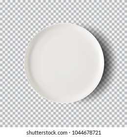 White plate isolated on transparent background. Kitchen dishes for food, plate and dish clean for kitchen, porcelain dishware. Vector illustration for your product, food ads, tableware design element.
