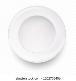 White plate isolated with shadow on transparent background. Realistic style. Vector illustration.