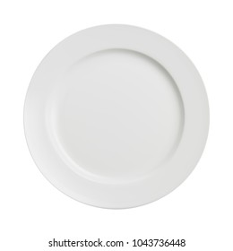 White plate on white background. Vector illustration.