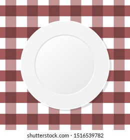 White plate on a brown checkered tablecloth. Empty dish on a kitchen table cloth. Dining, eating. Table setting for dinner. Meal, plaid brown table cover, gingham pattern. Top view. Vector, clip art.