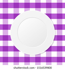 White plate on a violet checkered tablecloth. Empty dish on a kitchen table cloth. Dining, eating. Table setting for dinner. Meal, plaid purple table cover, gingham pattern. Top view. Vector,clip art.