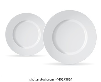 White plate for your design and logo. Mock Up Vector Template