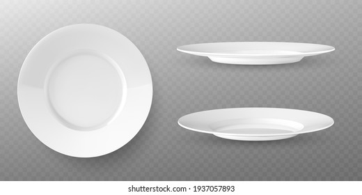 White plates vector mockup in a realistic style on transparent background
