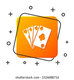 White Playing cards icon isolated on white background. Casino gambling. Orange square button. Vector Illustration