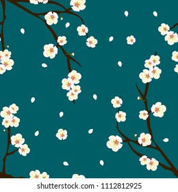 White Plum Blossom Flower on Indigo Blue Background. Vector Illustration.