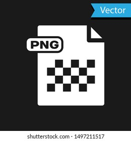 White PNG file document. Download png button icon isolated on black background. PNG file symbol.  Vector Illustration