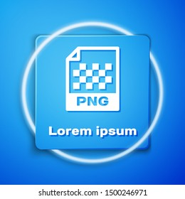 White PNG file document. Download png button icon isolated on blue background. PNG file symbol. Blue square button. Vector Illustration