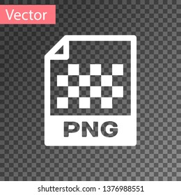 White PNG file document icon. Download png button icon isolated on transparent background. PNG file symbol. Vector Illustration