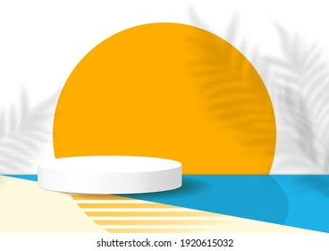 White podium decoration with scene summer, sun, blue and yellow background. Stage platform for display product, show, sale. Abstract backdrop decor with tropical plant shadow. Vector illustration.