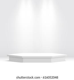White podium. Pedestal. Hexagonal scene. Spotlight. Vector illustration.