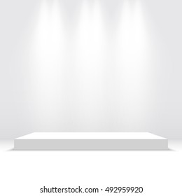 White podium. Pedestal. Platform. Spotlight. Vector illustration.