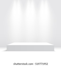 White podium. Pedestal. Platform. Spotlight. Vector illustration.
