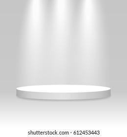 White podium. Pedestal. Scene. 3D. Vector illustration.