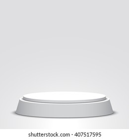 White podium. Pedestal. Scene. Vector illustration.