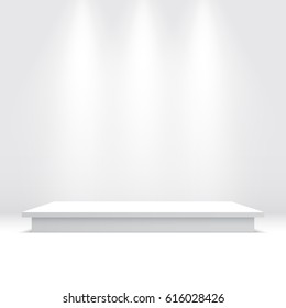 White podium. Pedestal. Vector illustration.