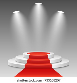 White podium with a red carpet on a transparent background. The winner is in first place. Bright white light from searchlights. Light pedestal. Festive event. Vector illustration