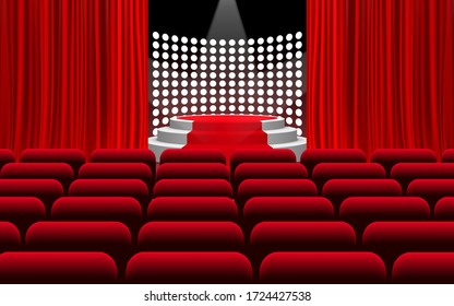 white podium and red carpet with spotlight on the stage in the hall