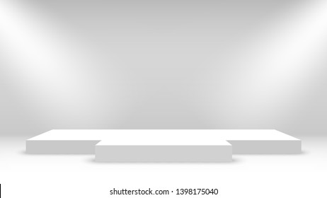 White podium with spotlights. Stage for awards ceremony. Pedestal. Vector illustration.