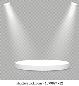 White podium. Vector spotlight. Light effect Glow isolated white transparent light effect. Abstract design of special effect element.