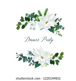 White poinsettia flowers, christmas greenery, emerald eucalyptus, fir, mix of seasonal plants vector design round frame or bouquets. Winter chic wedding or party invitation card. Isolated and editable