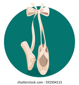 White pointes female ballet shoes flat design on green background. Vector illustration of gym ballet shoes standing on tiptoes web banner.