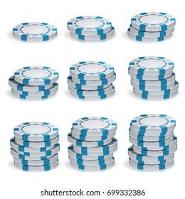 White Poker Chips Stacks Vector. 3D Set. Plastic Round Poker Gambling Chips Sign Isolated On White. Casino Jackpot Concept Illustration.