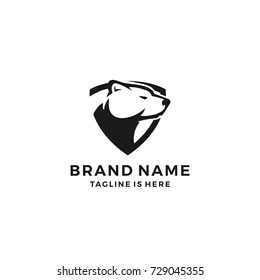 white polar bear shield logo template vector illustration
