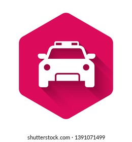 White Police car and police flasher icon isolated with long shadow. Emergency flashing siren. Pink hexagon button. Vector Illustration