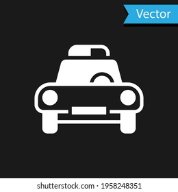White Police car and police flasher icon isolated on black background. Emergency flashing siren. Vector