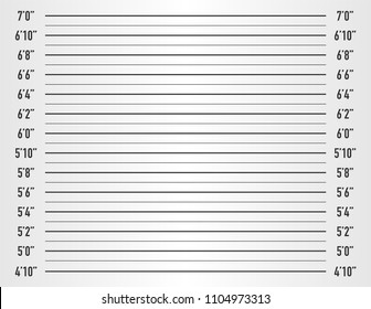 White police lineup or mugshot vector background (inch unit). Vector stock illustration.
