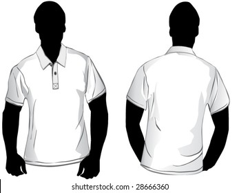 White polo shirt design template with front and back.