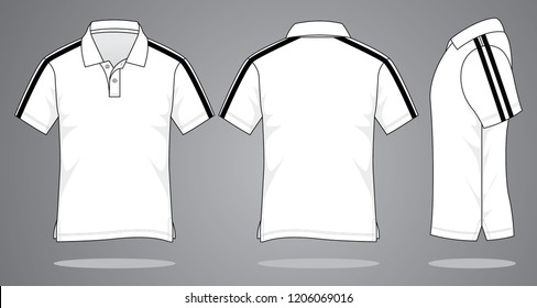 White Polo Shirt Design Vector  : Black Double Tapes