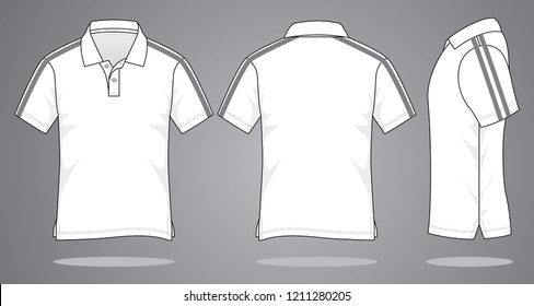 White Polo Shirt Design Vector  : Gray Double Tapes