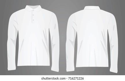 White polo shirt long sleeve. vector illustration
