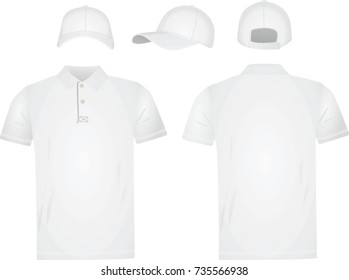 White polo t shirt and baseball cap. vector illustration