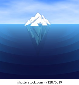 White polygonal Iceberg sailing, vector illustration. Underwater and overwater   Ice berg, white mountain peak in blue ocean water.