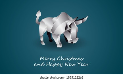 White Polygonal Ox as a Symbol of Chinese New Year. Vector Origami Bull with Metal texture on Soft Blue Background as Invitation Template for New Year Party.