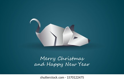 White Polygonal Rat as a Symbol of Chinese New Year. Vector Origami Mouse with Metal texture on Soft Blue Background as Invitation Template for New Year Party.