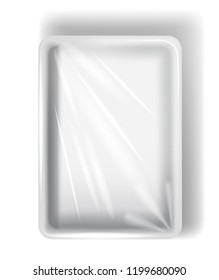 White polystyrene packaging, with transparent film. Isolated on white background. Vector.