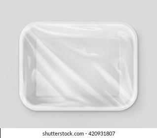 White polystyrene packaging, vector mockup