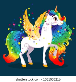 White Pony Unicorn with Golden Wings, Hooves, Iridescent Hair (Mane, Tail) and Big Eyes, Cartoon Character Hand Drawn Vector Illustration