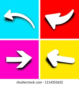 White pop art retro arrow signs on colored background. Vector illustration.