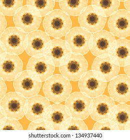 White poppy field. 1950s vintage vector seamless pattern. Texture for web, print, textile, wallpaper, wrapping paper. Concept of summer, gardening, lawn care, herbal medicine, natural growth, land.