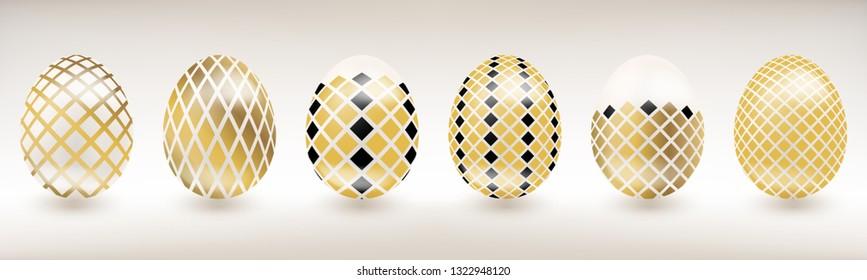 White porcelain Easter egg with gold and black diamond decor