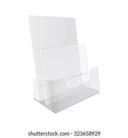 White  POS  materials on white empty background. Office supplies, stationery.