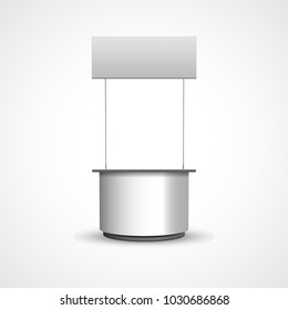 White POS POI blank empty retail stand stall bar display with roof. On white background isolated. Mock up template is ready for your design.